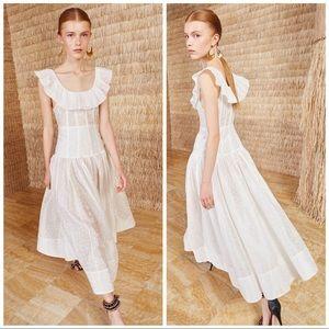Ulla Johnson Coretta Cotton Silk Floral Midi Dress